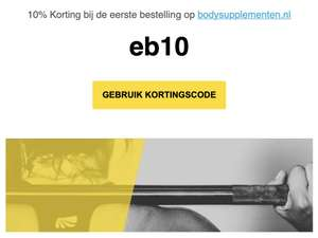 10% Korting bij de eerste bestelling op bodysupplementen.nl