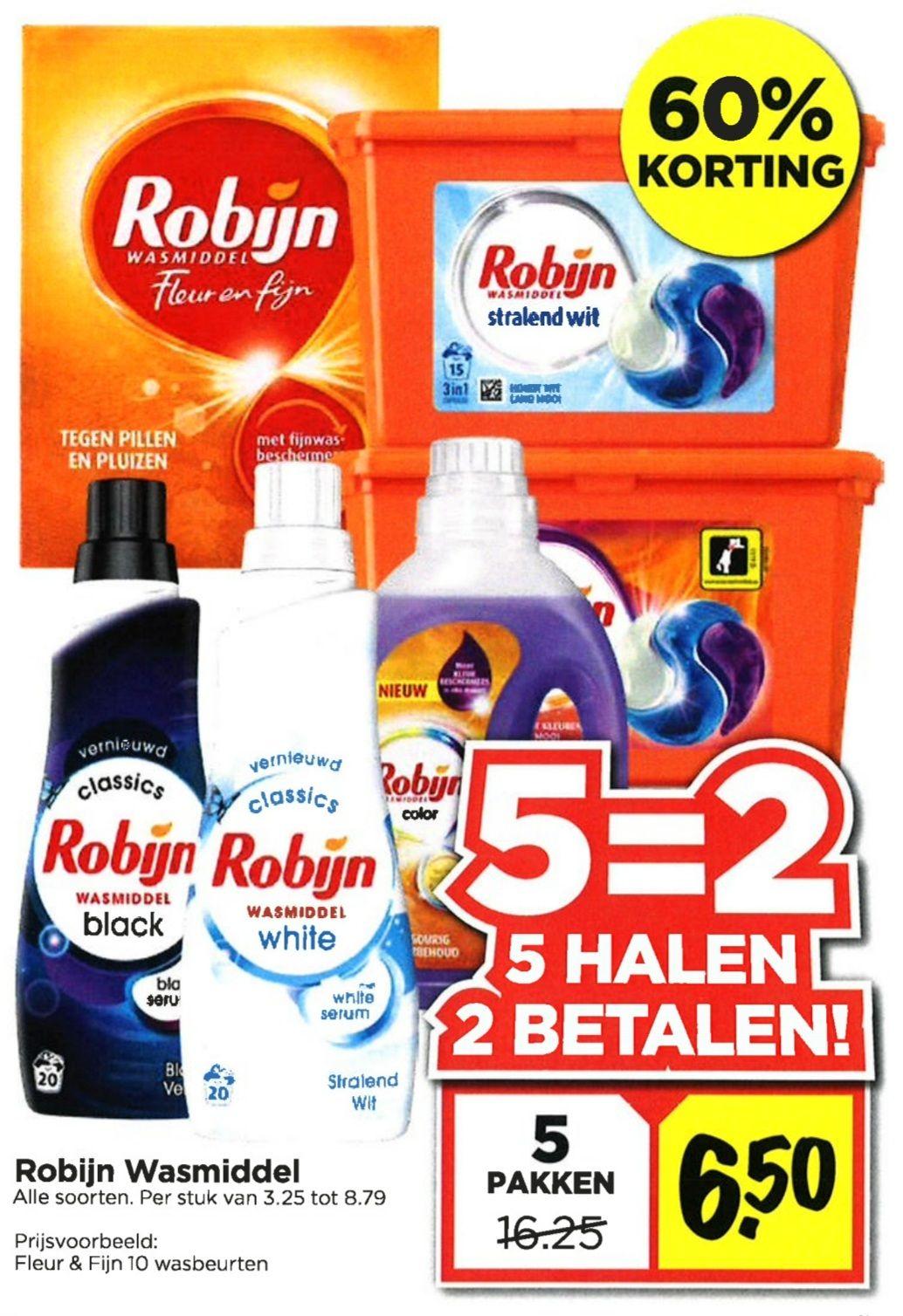 Robijn Wasmiddel 5 halen, 2 betalen + gratis Robijn Drywash sample.