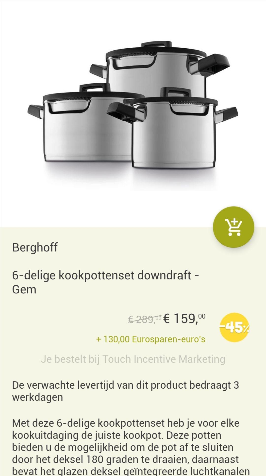 130,- korting op Berghoff Gem 6 delige kookpotten set t.w.v. 289,-