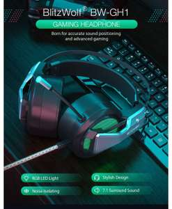 BlitzWolf® BW-GH1 Gaming Headphone 7.1 Surround Sound Bass RGB with Mic 3.5mm Interface of 7.1 channel+usb