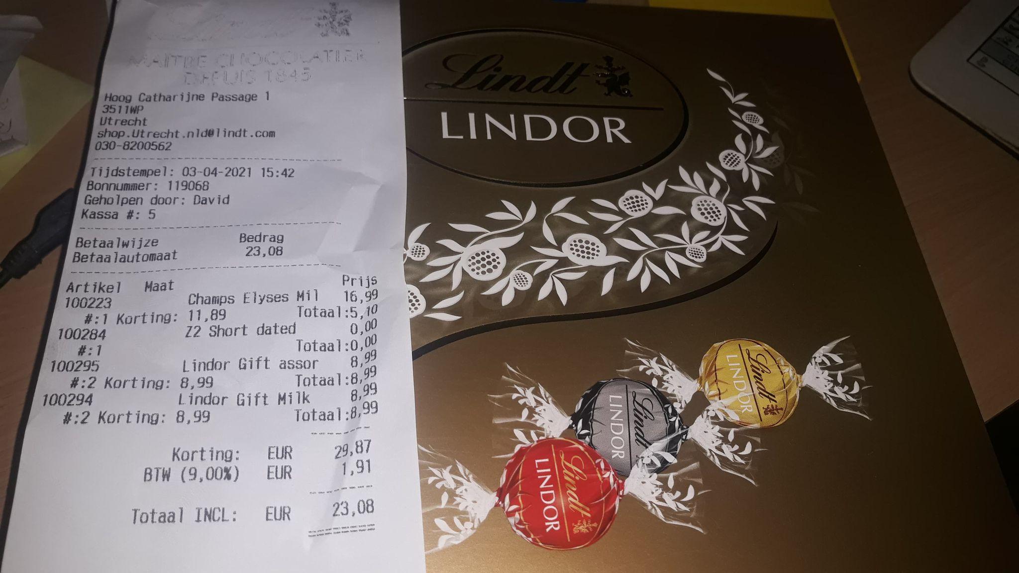 Lindt/Lindor bonbons 2e verpakking gratis bij Lindt Utrecht