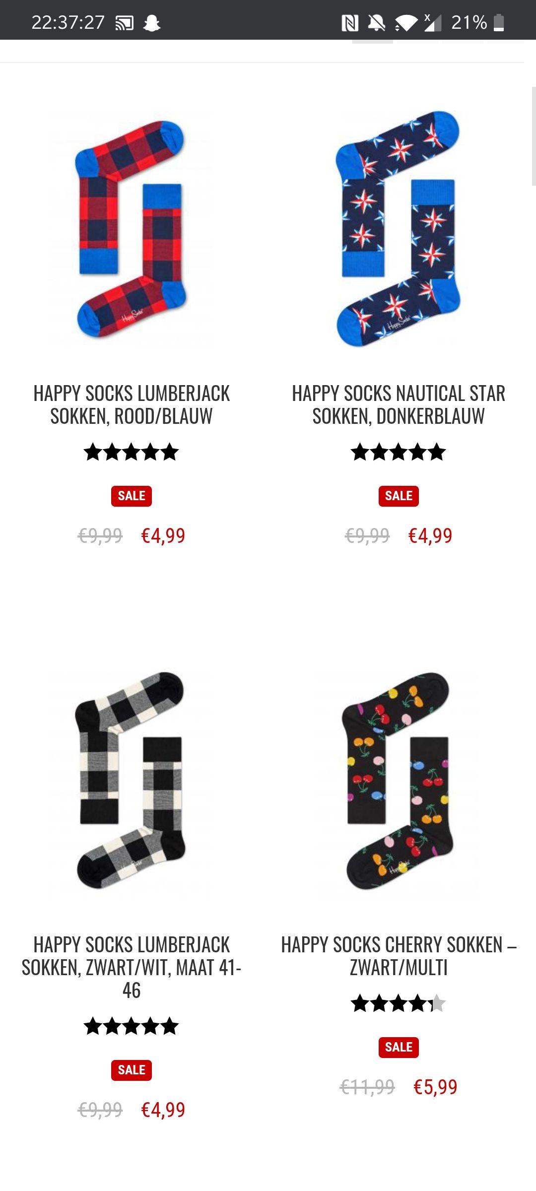 Happy socks sale tot 60% korting