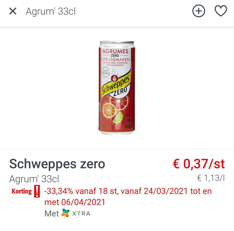[GRENSDEAL BELGIË] Schweppes agrum (vanaf 18 stuks) @ Colruyt