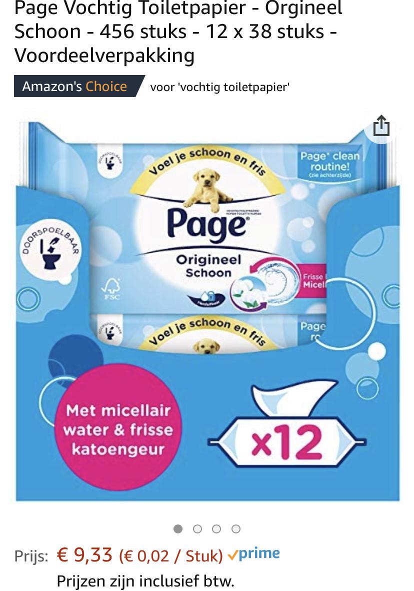Page Vochtig Toiletpapier - 456 stuks - 12 x 38 stuks - Voordeelverpakking