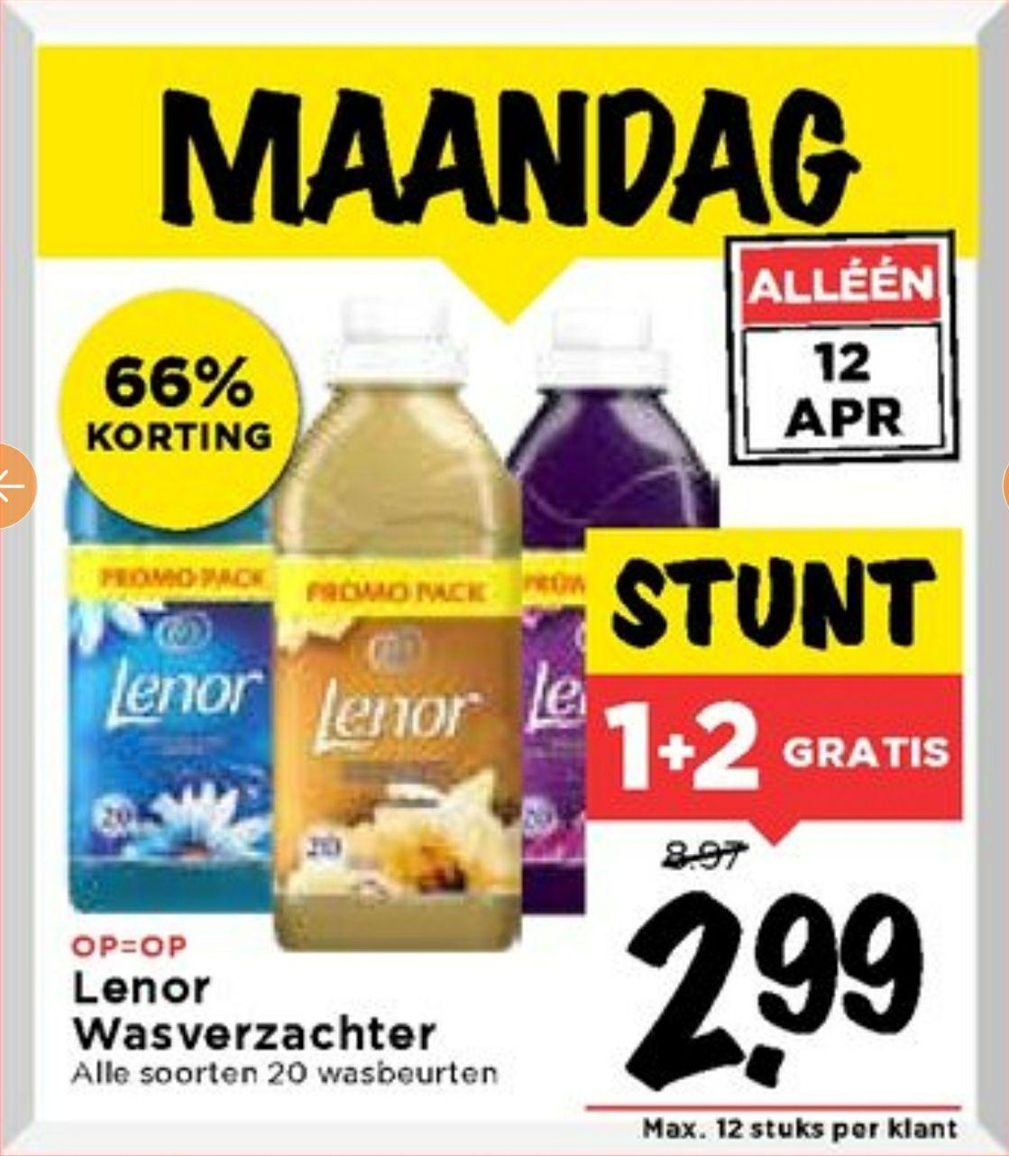 Lenor 1+2 gratis voor €3,- te Vomar