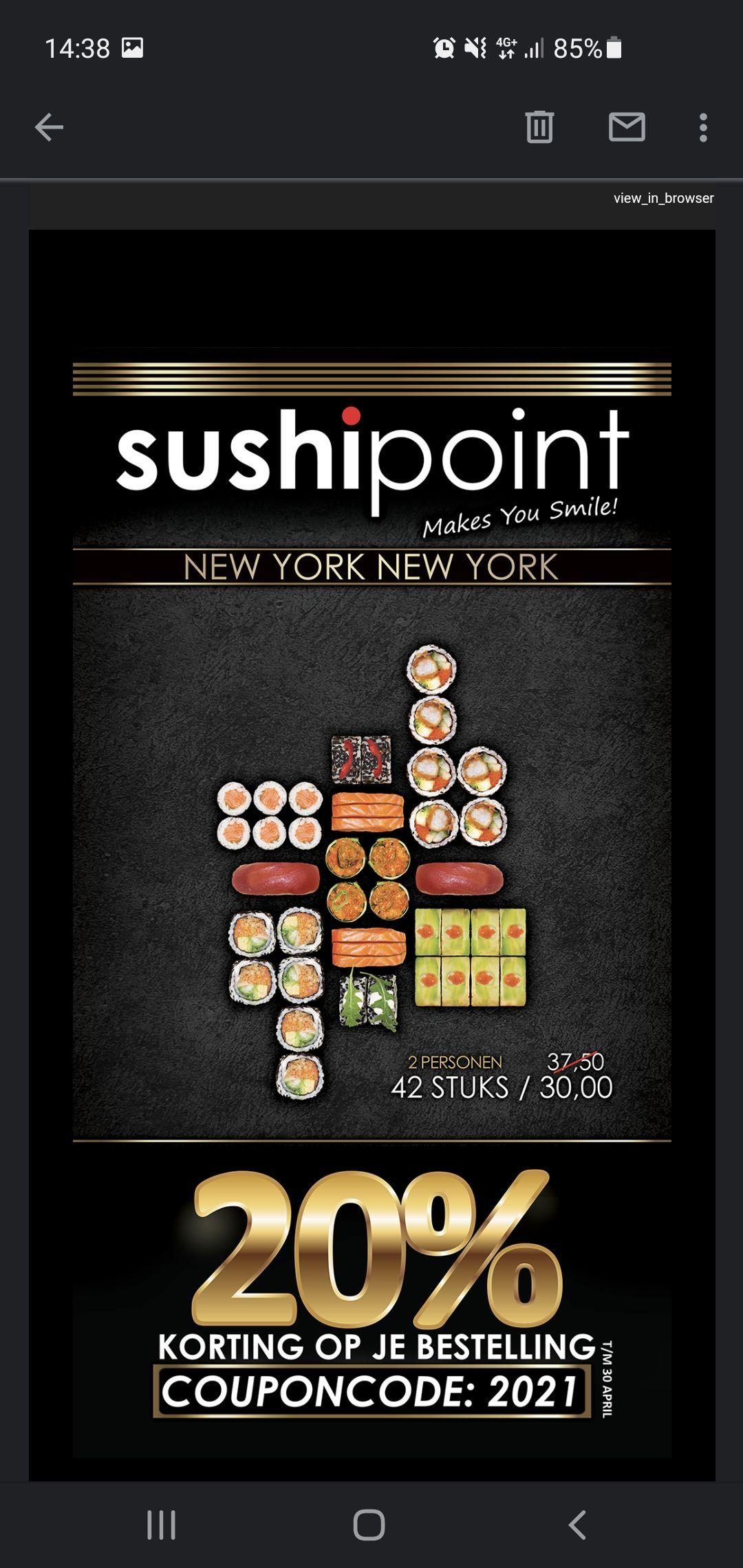 SushiPoint Capelle a/d IJssel | 20% KORTING op je bestelling!