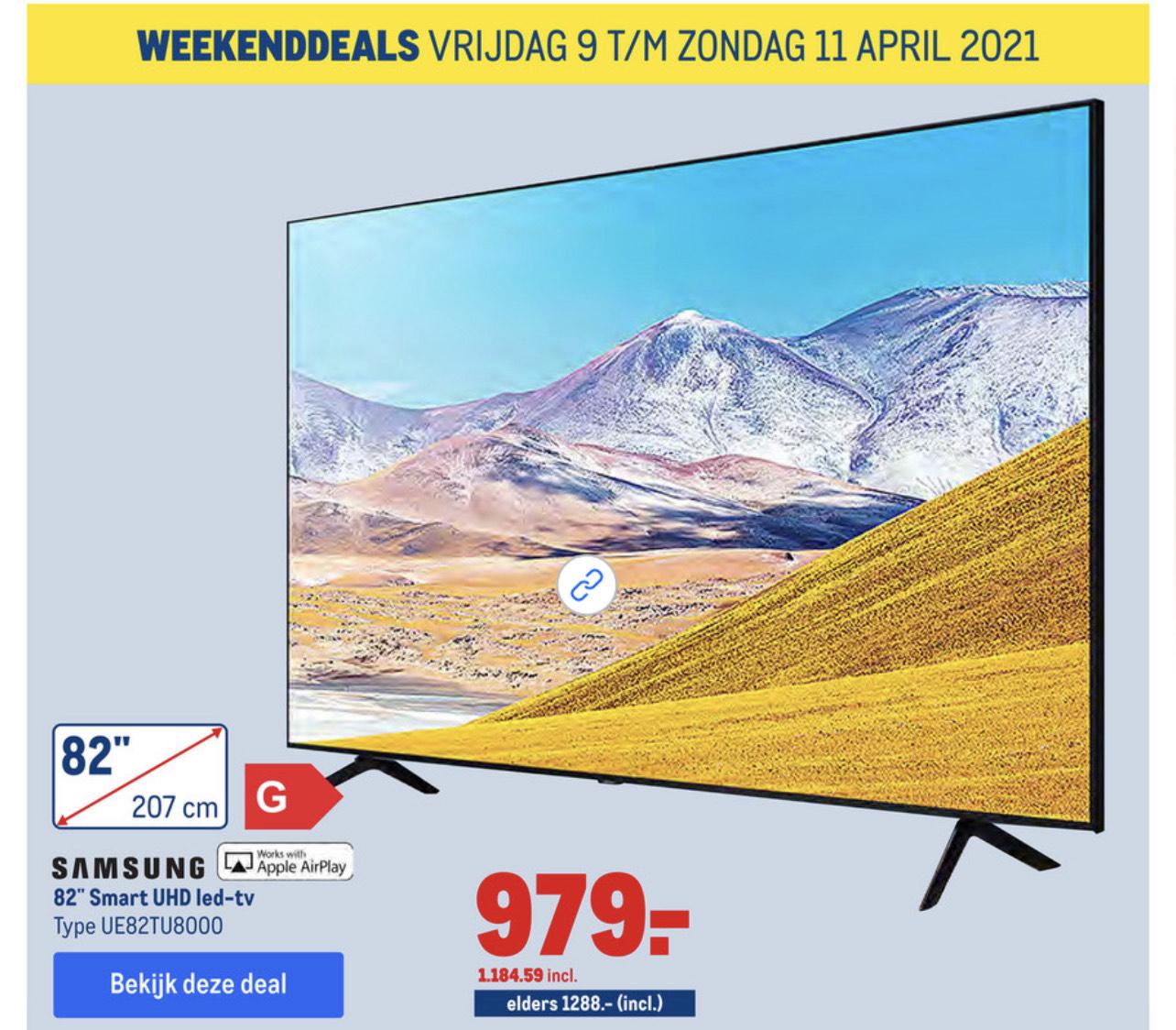 82 inch led TV Samsung UE82TU8000 voor 979 excl BTW