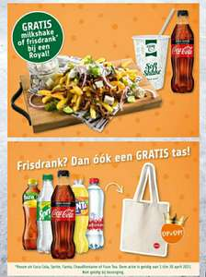 Gratis milkshake of fris bij aankoop Royal bij plaza food for all