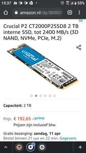 Crucial P2 CT2000P2SSD8 2 TB interne SSD, tot 2400 MB/s (3D NAND, NVMe, PCIe, M.2)