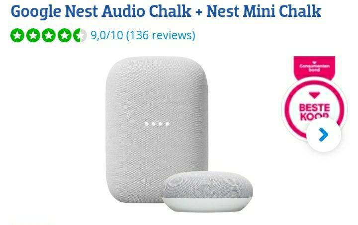 Google Nest Audio Chalk + Nest mini Chalk