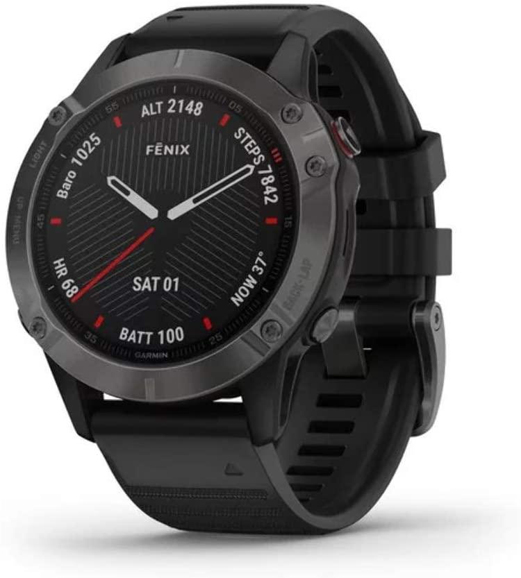 Garmin Fenix 6 Sapphire Multisport GPS Horloge - Carbon Grey met zwarte band