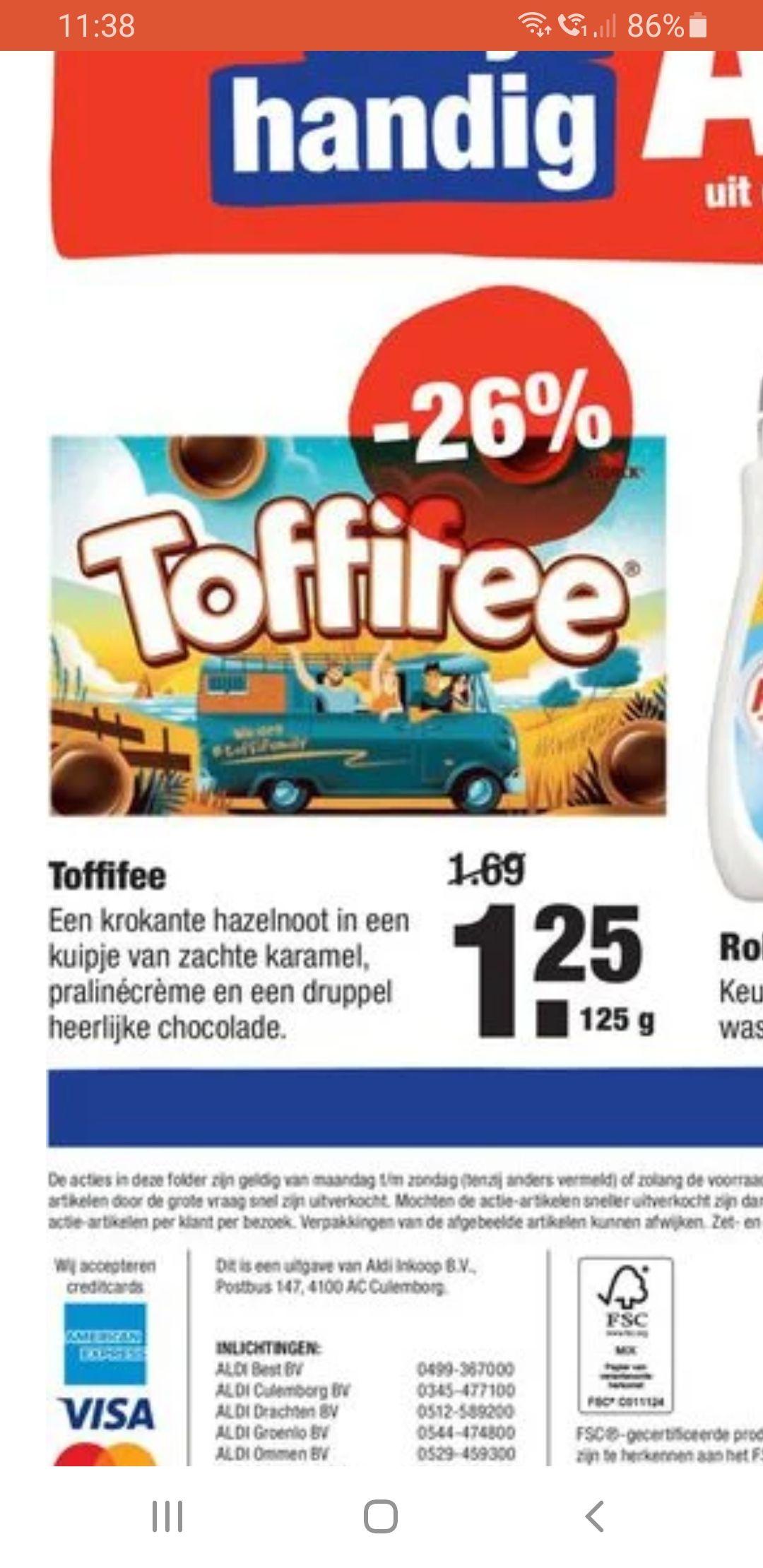 Toffifee 125gram €1,25 bij Aldi