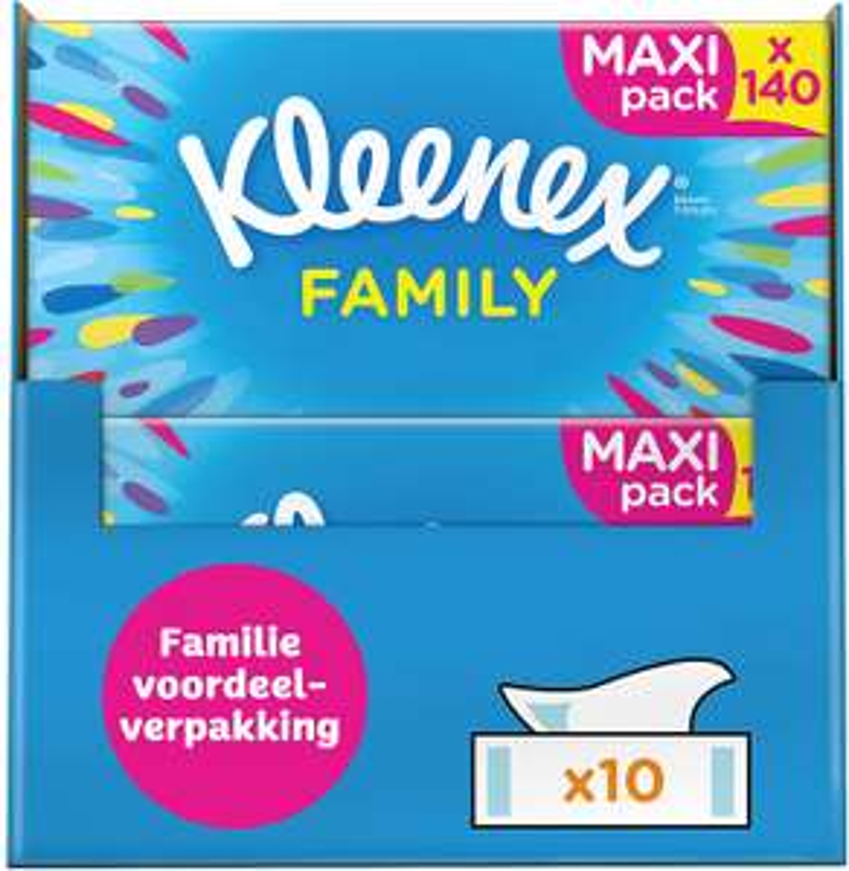 Kleenex Family tissues - 1400 tissues - 10 x 140 stuks - Voordeelverpakking