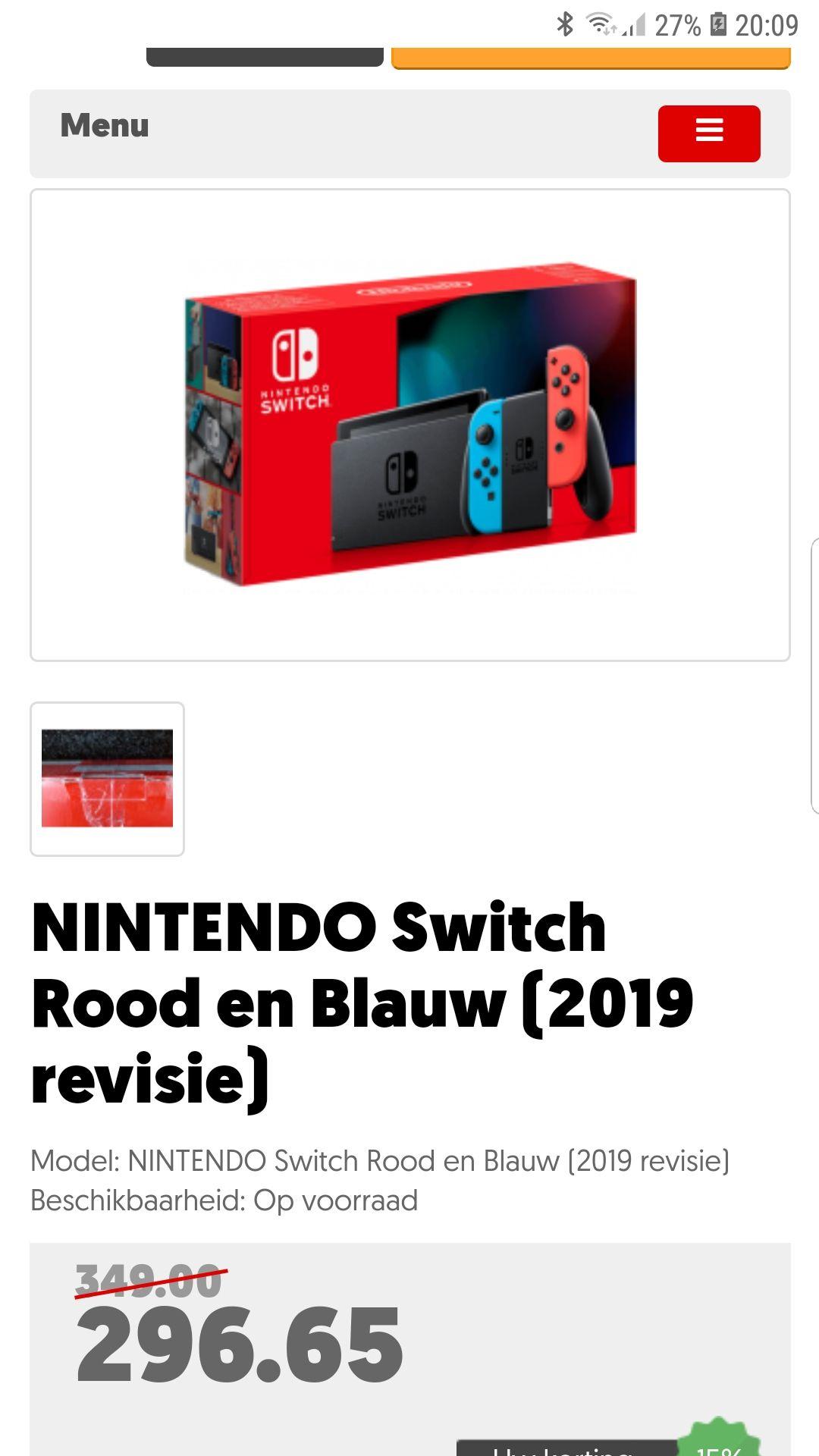REEDS UITVERKOCHT Nintendo Switch (open en/of beschadigde verpakking)