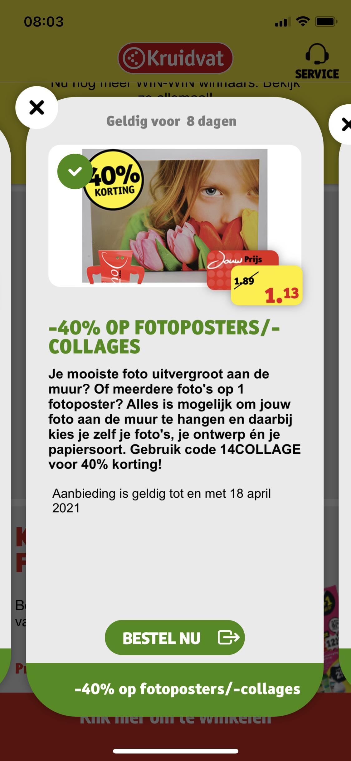 Foto op poster en fotocollage met 40% korting