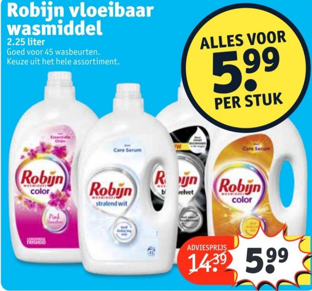 2.25 L robijn wasmiddel voor 5.99