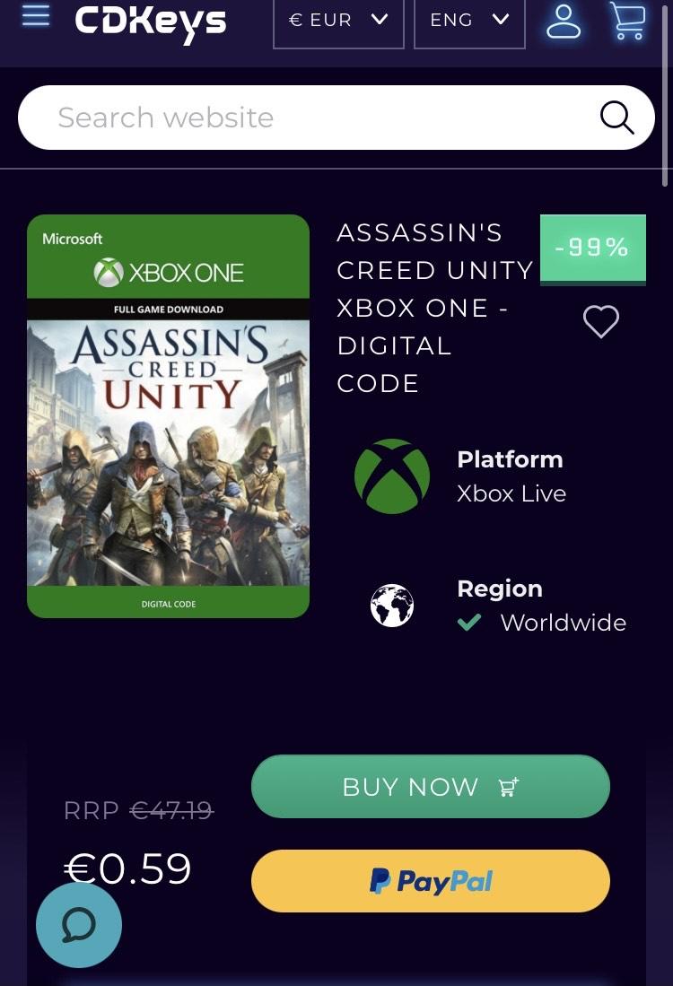 [Digitaal] Assassin's Creed Unity Xbox One [CD Keys]