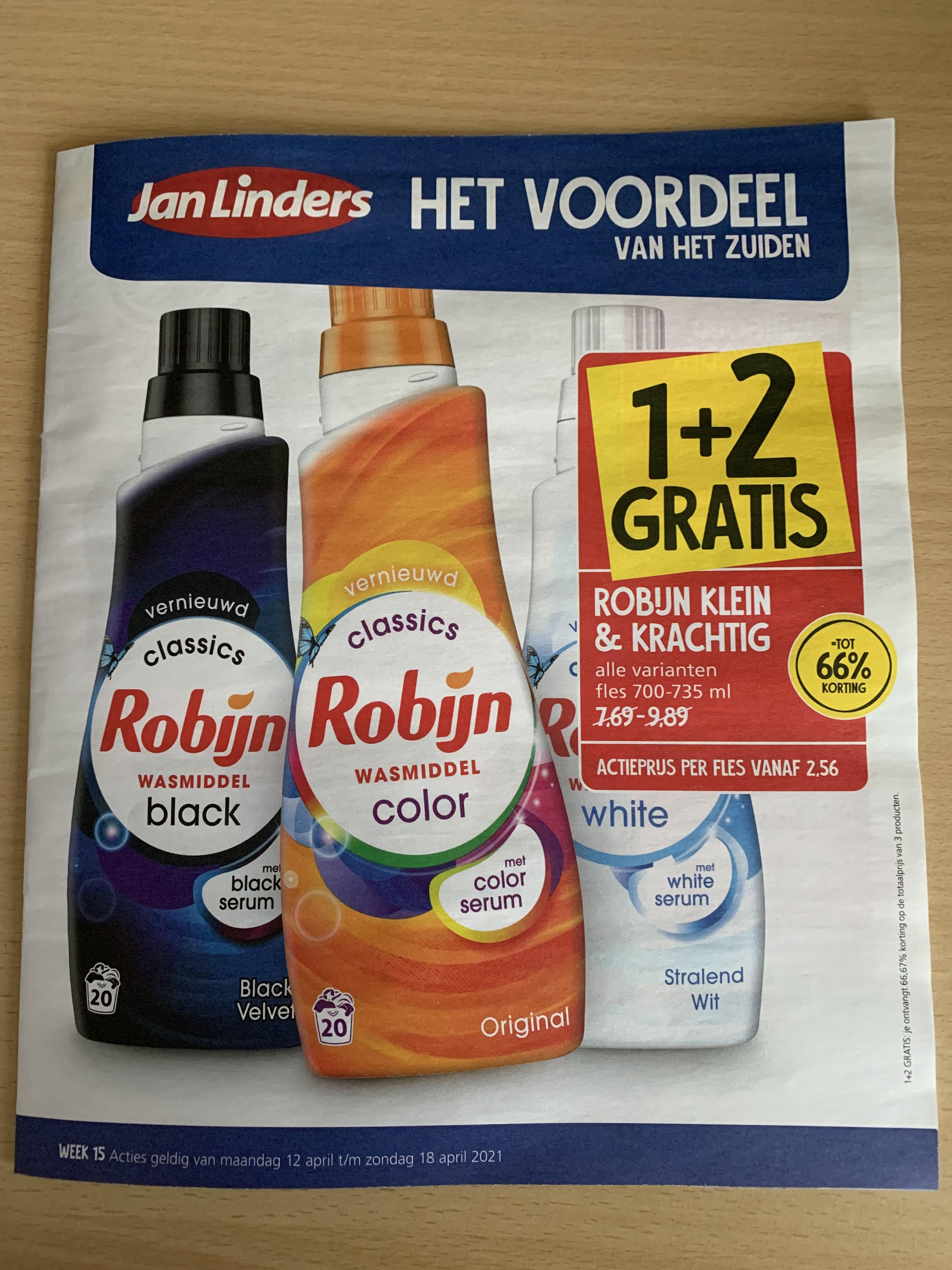 < 1 + 2 gratis > Robijn wasmiddel @ Jan Linders