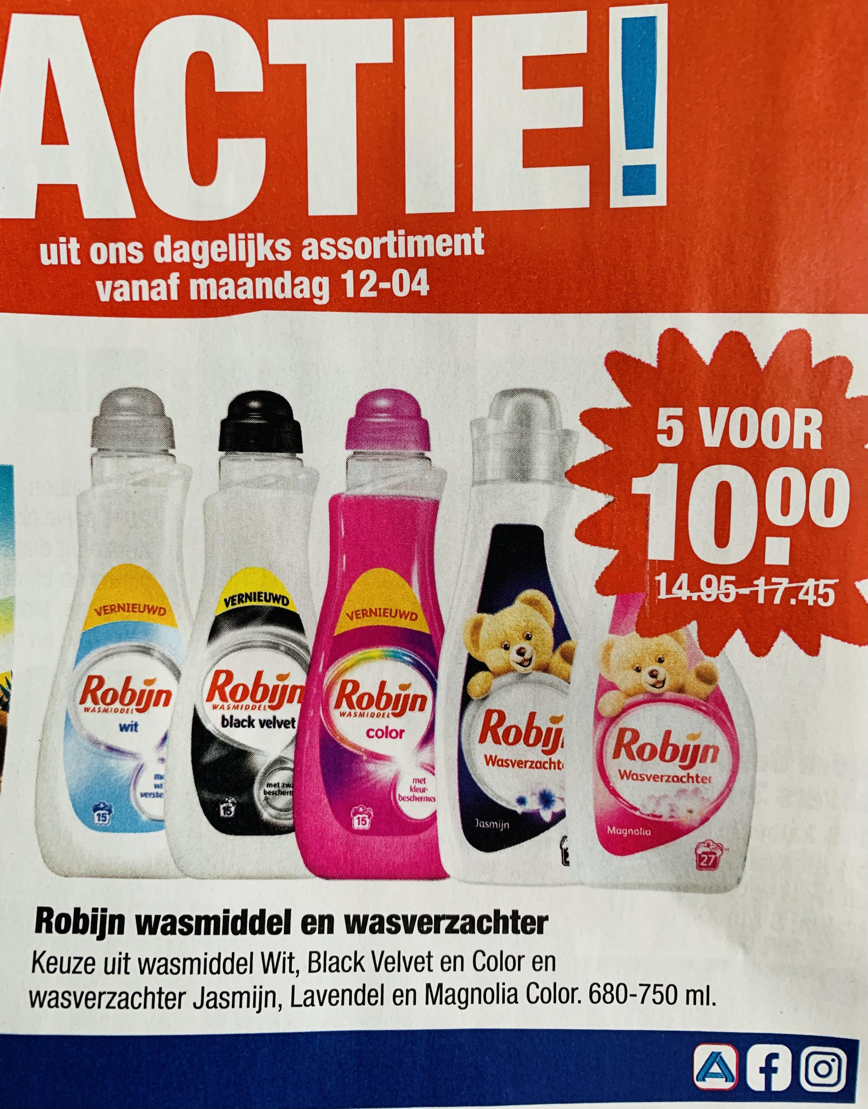 Robijn wasmiddel en wasverzachter • 5 voor €10 euro • Aldi