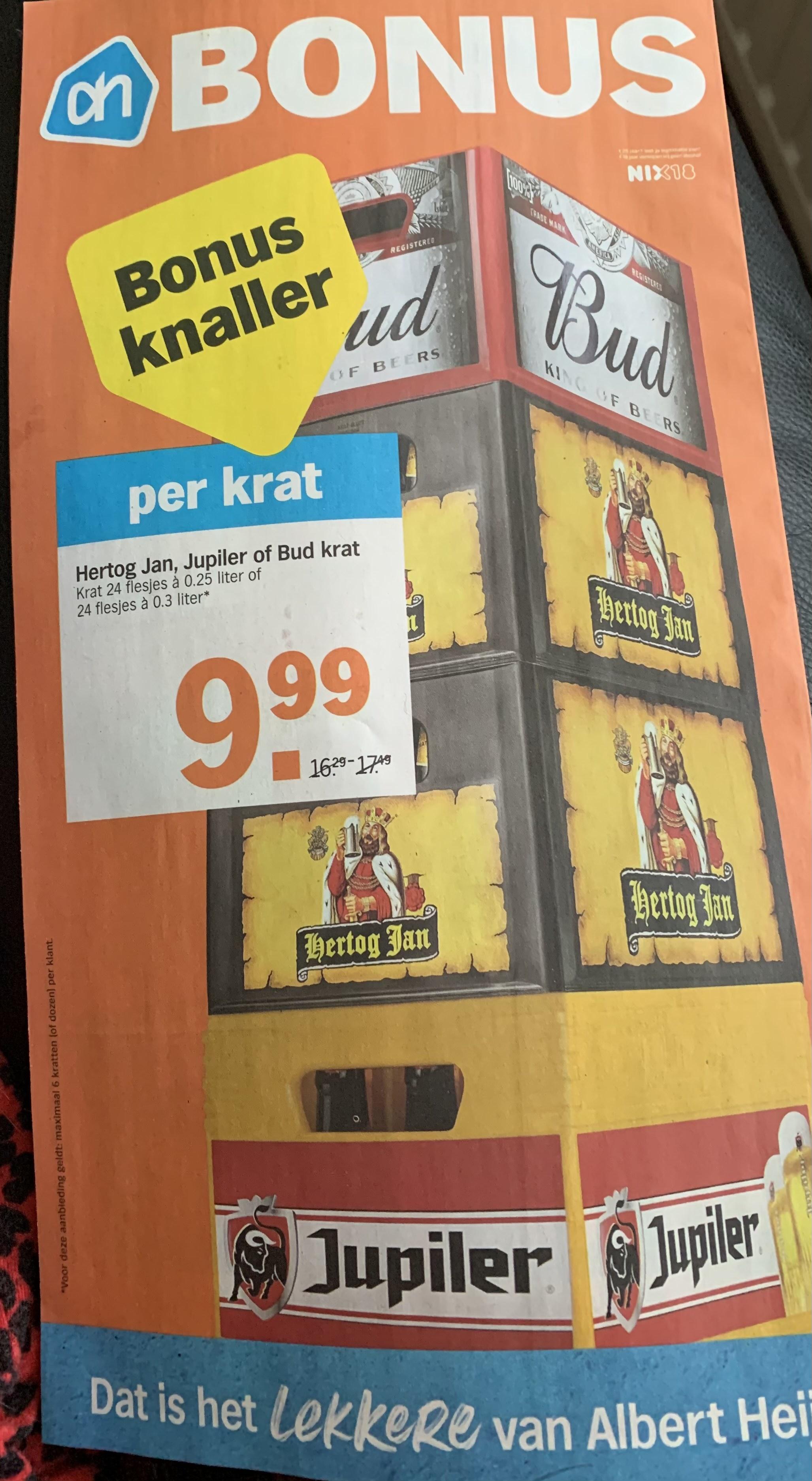 AH BIER! Hertog Jan, Jupiler of Bud krat €10 Albert Heijn