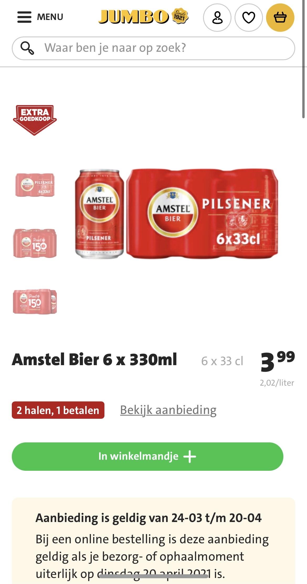 2x Sixpack Amstel blikjes nu 3,99 bij Jumbo
