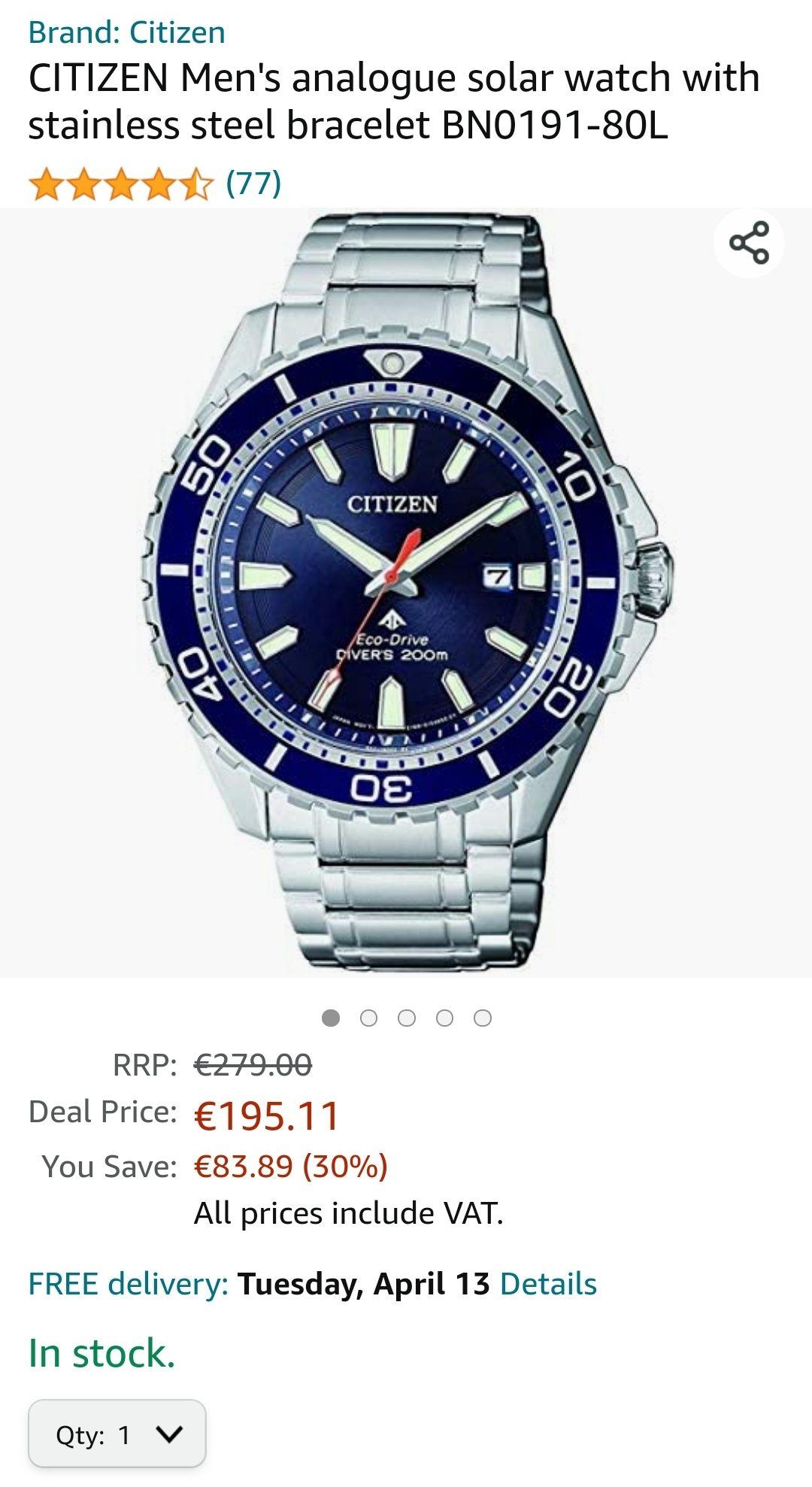 Citizen horloge van 279 nu 195,11