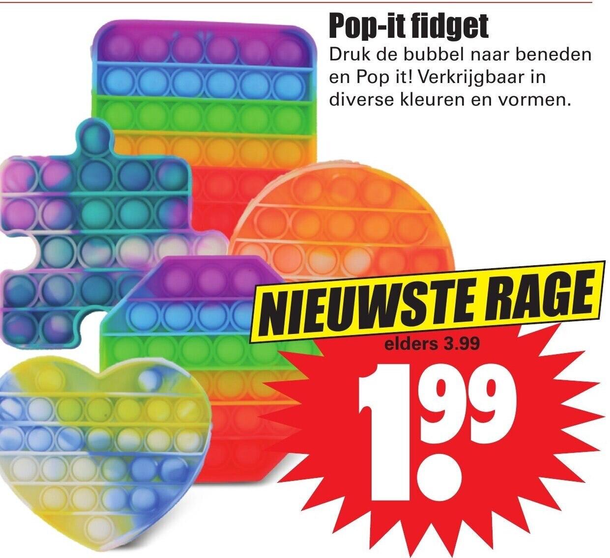 Unieke vormen Pop-it Fidget bij Dirk voor €1,99!