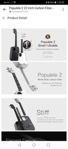 Xiaomi Populele 2 23 Inch Carbon Fiber USB Smart Ukulele APP Control Bluetooth 4.0 With Led Lamp Beads