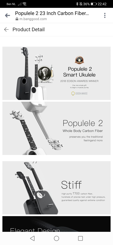 Xiaomi Populele 2 23 Inch Carbon Fiber USB Smart Ukulele APP Control Bluetooth 4.0 With Led Lamp Beads