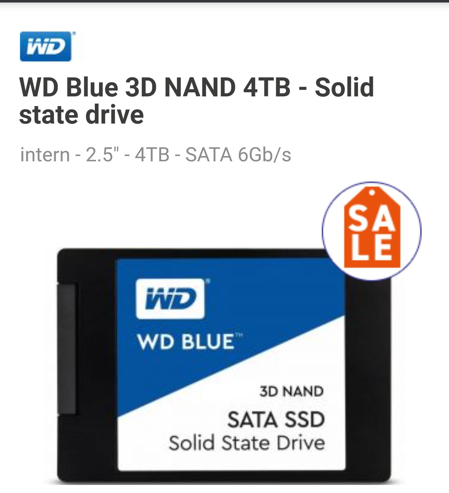 """WD Blue SSD 2,5"""" (3D v-nand (TLC)) 4TB"""