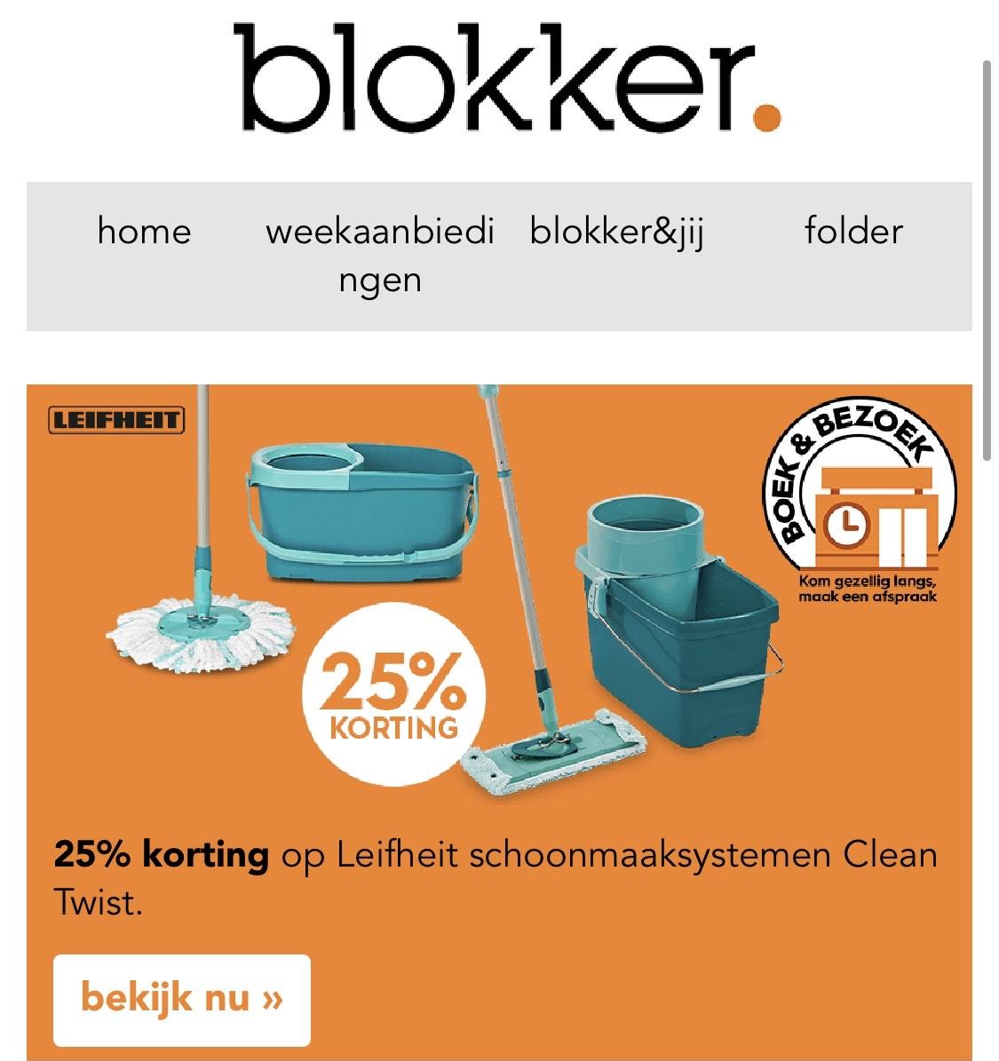 25% korting op Leifheit schoonmaaksystemen Clean Twist