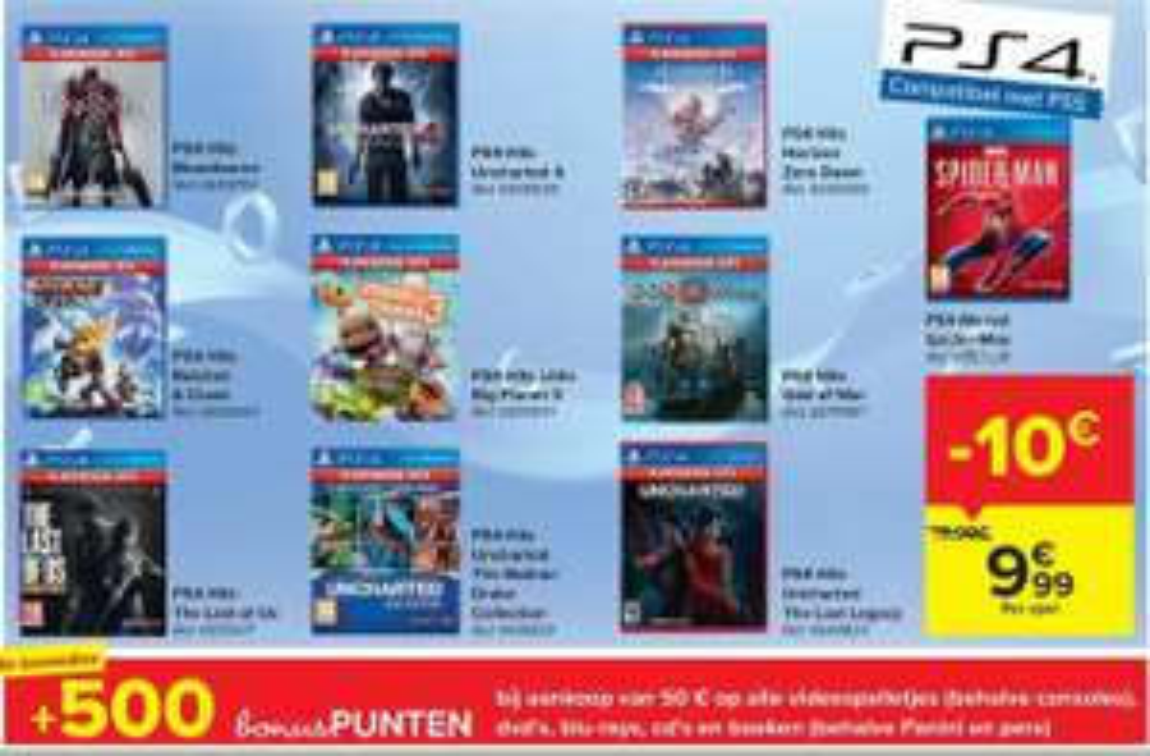 Verschillende Playstation 4 hits aan 9,99 bij Carrefour België