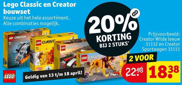 Lego 20% korting bij 2 stuks op Lego Classic en Creator - Kruidvat
