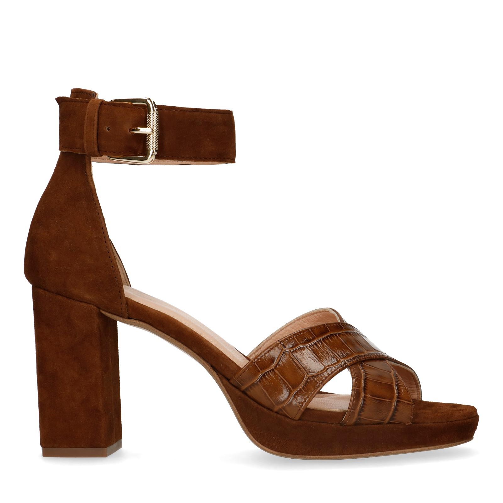 Leren sandalen met hoge hak -60% [waren €89,99]