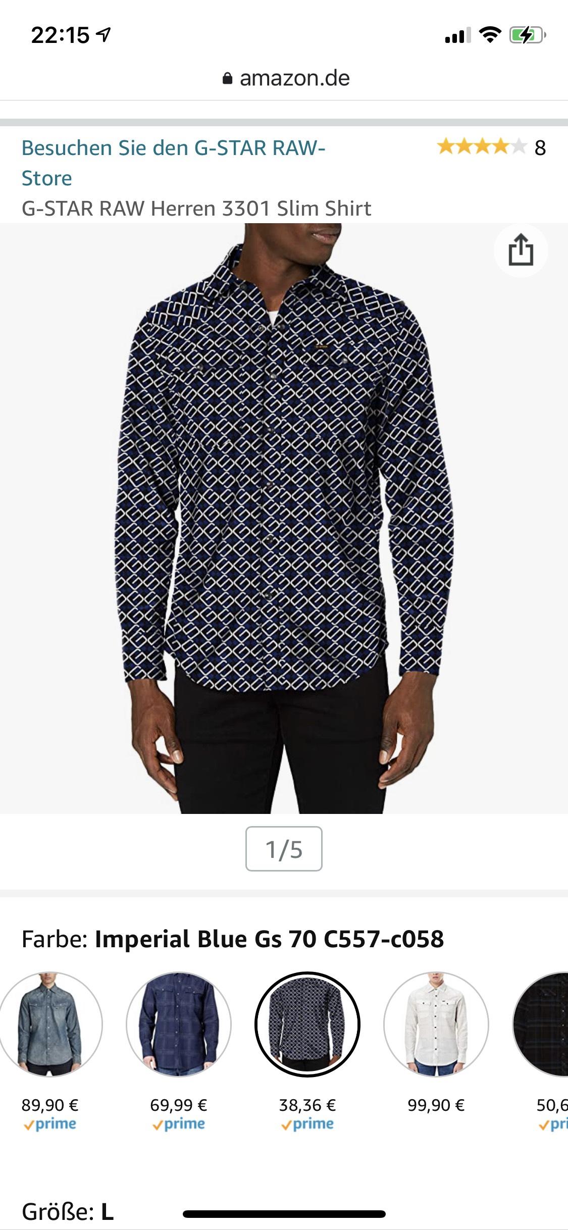 G-star RAW 3301 overhemd slim fit (maat S, maat M iets duurder