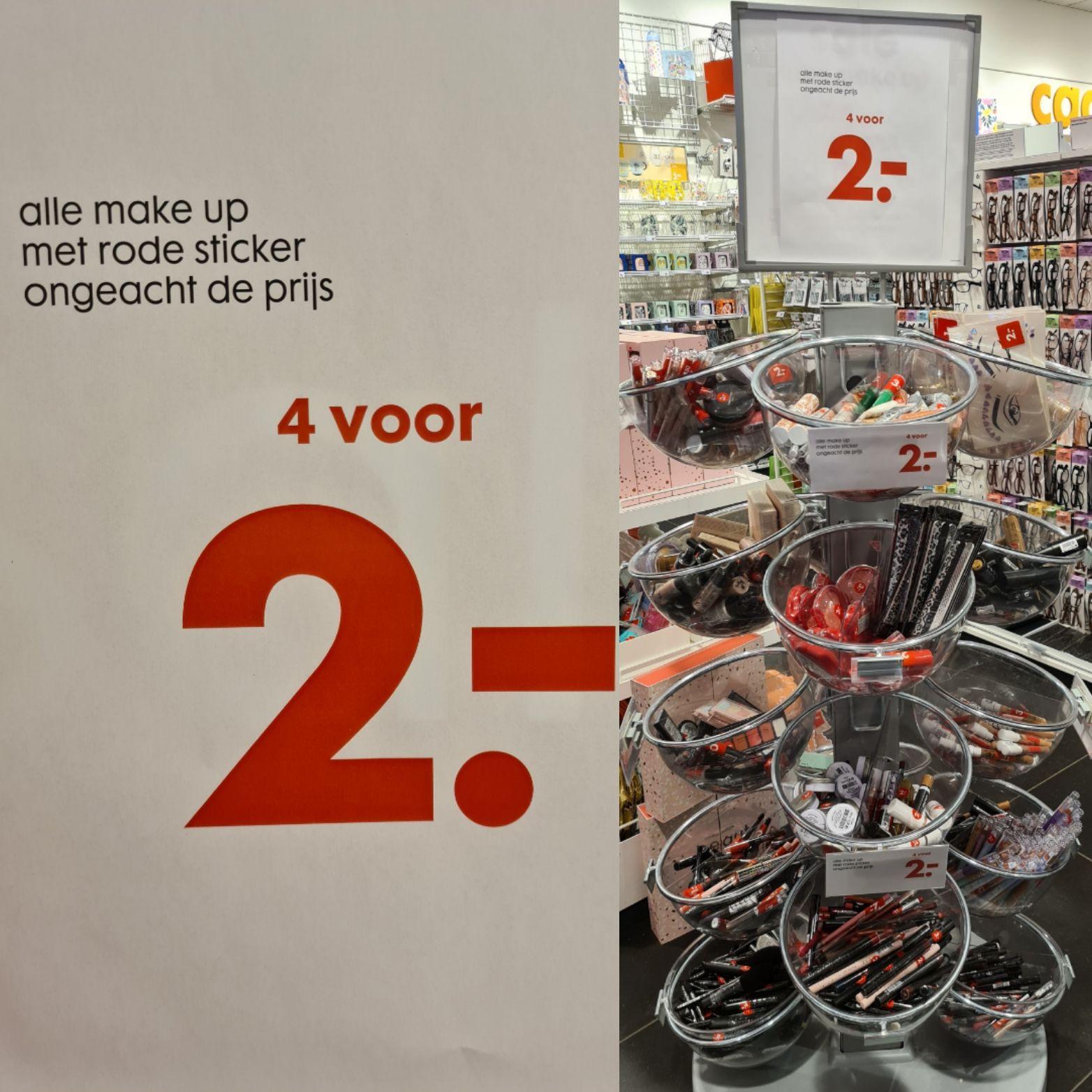 Alle make up met rode sticker 4 stuks voor €2,- alleen in hema de mare Alkmaar Noord