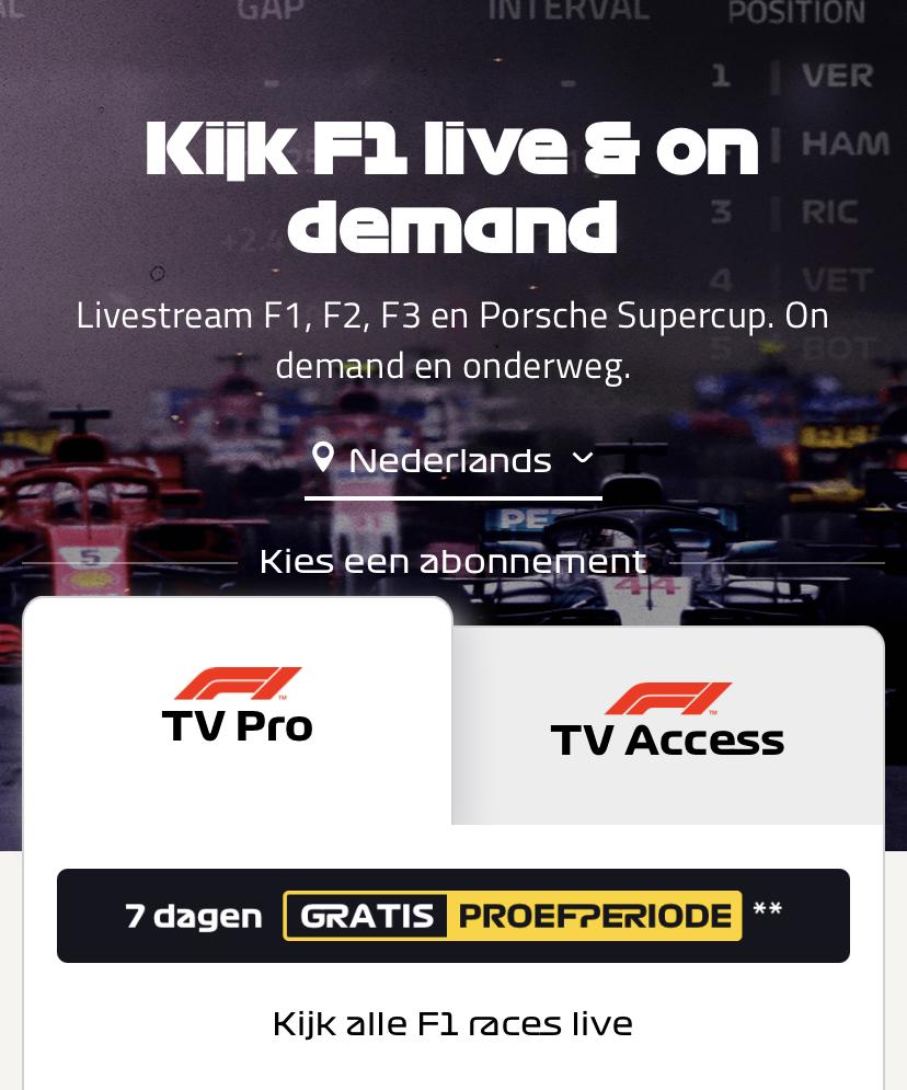 F1TV pro F1 gratis ( 7 dagen pas)