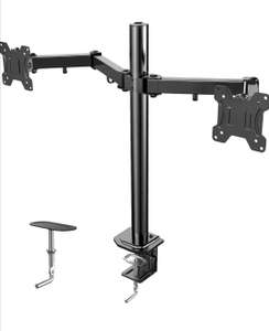 HUANUO Double Monitor Bracket, Fully Adjustable for Two 13 to 27 inch LCD LED Screens, 2 Mounting Options, VESA 75/100