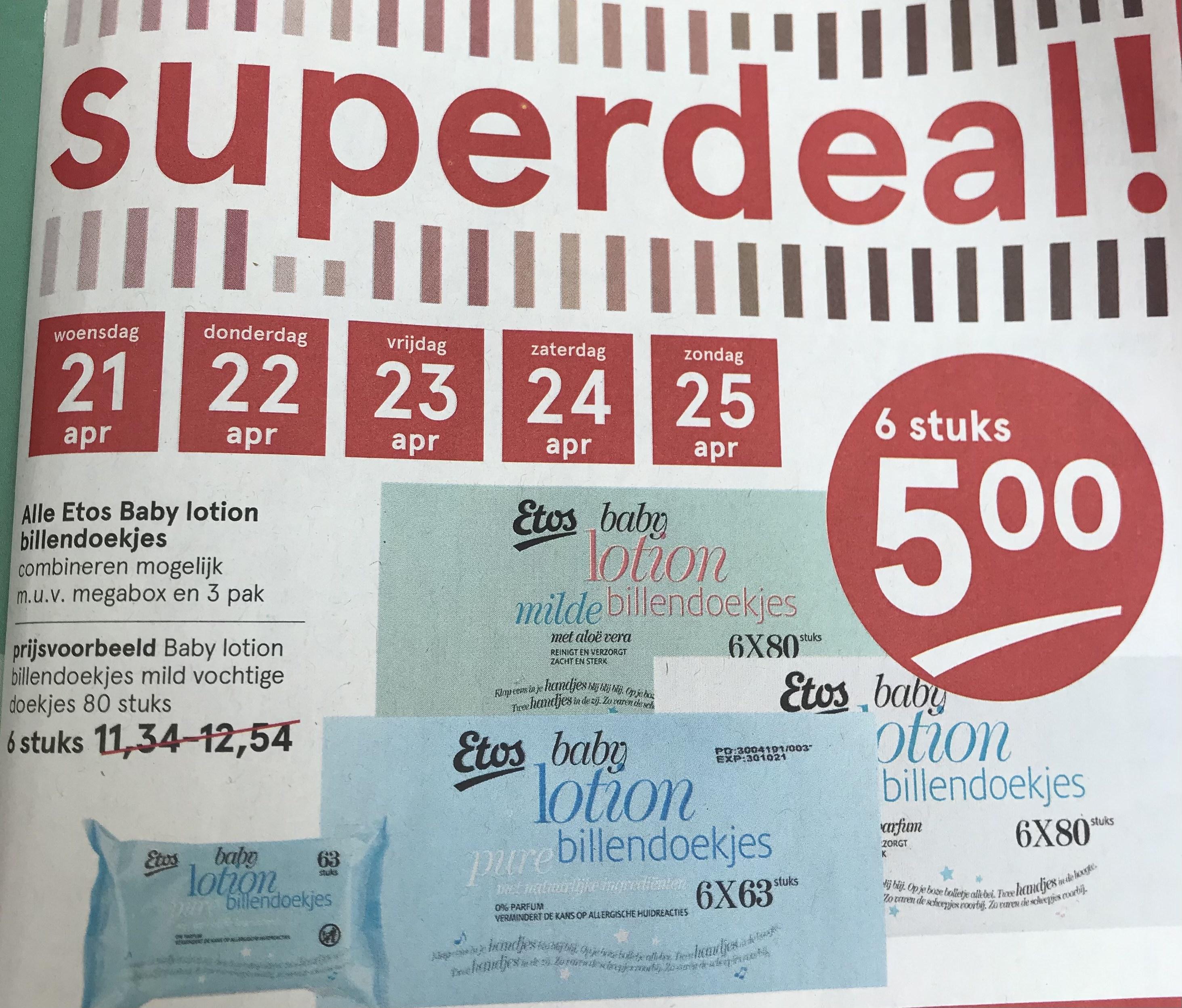 Etos: billendoekjes 6 stuks 5€