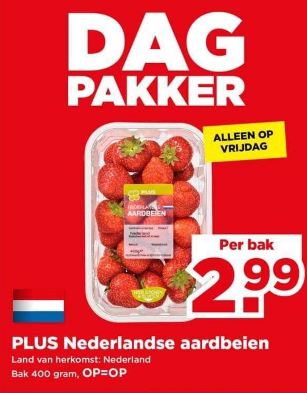 PLUS DagPakker: 400 gram Hollandse Aardbeien van €4,99 voor €2,99