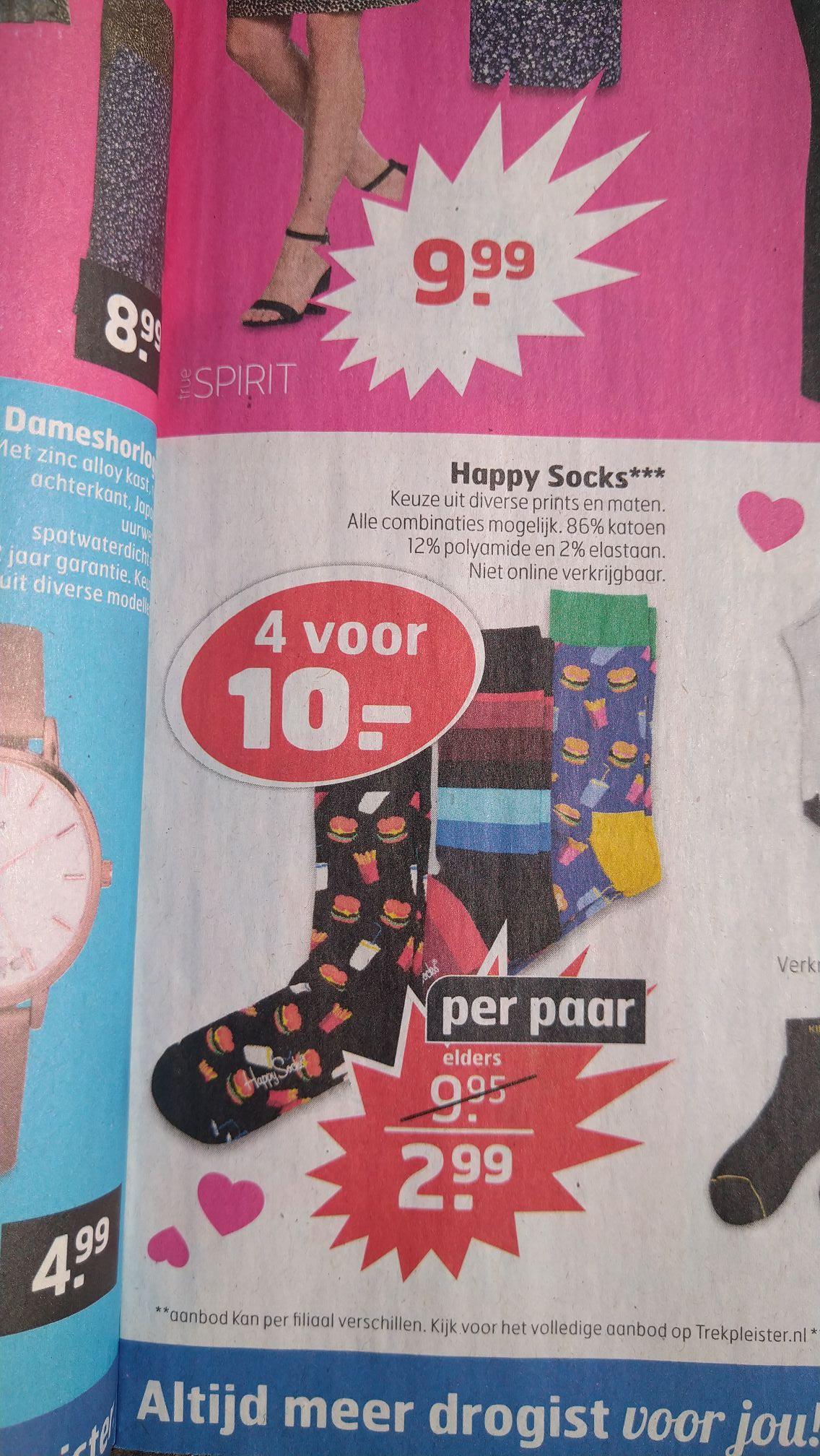 Happy socks 4 voor €10 bij de trekpleister