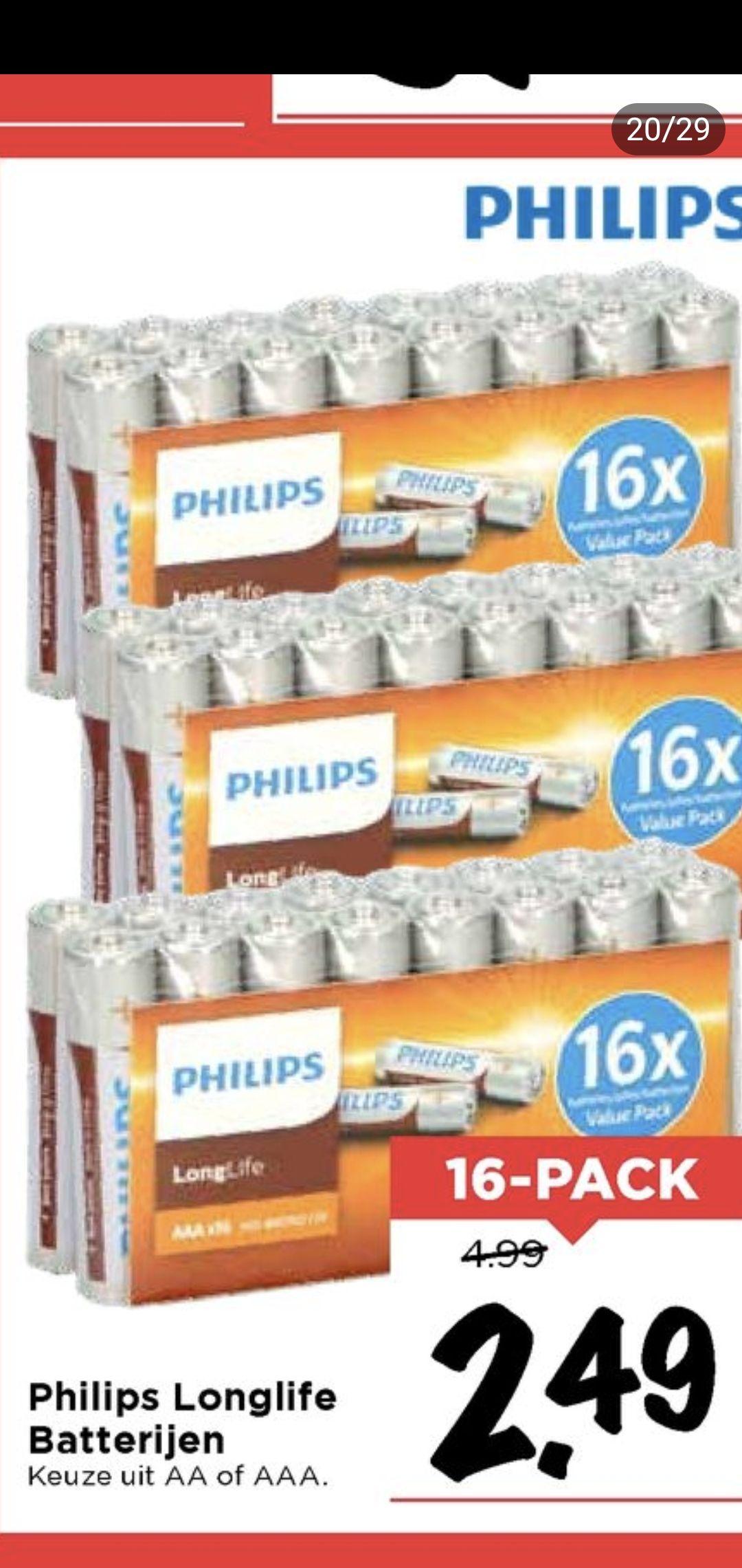 Philips Longlife (AA & AAA) batterijen @ Vomar