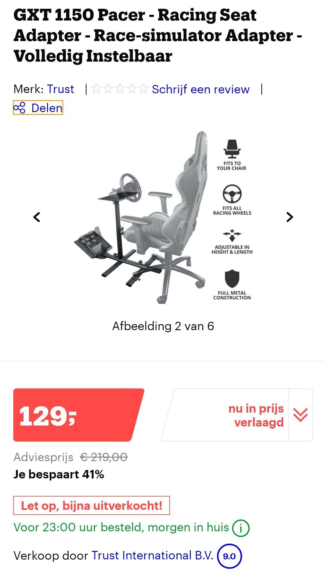 Prijs is aangepast door bol.com GXT 1150 Pacer - Racing Seat Adapter - Race-simulator Adapter - Volledig Instelbaar