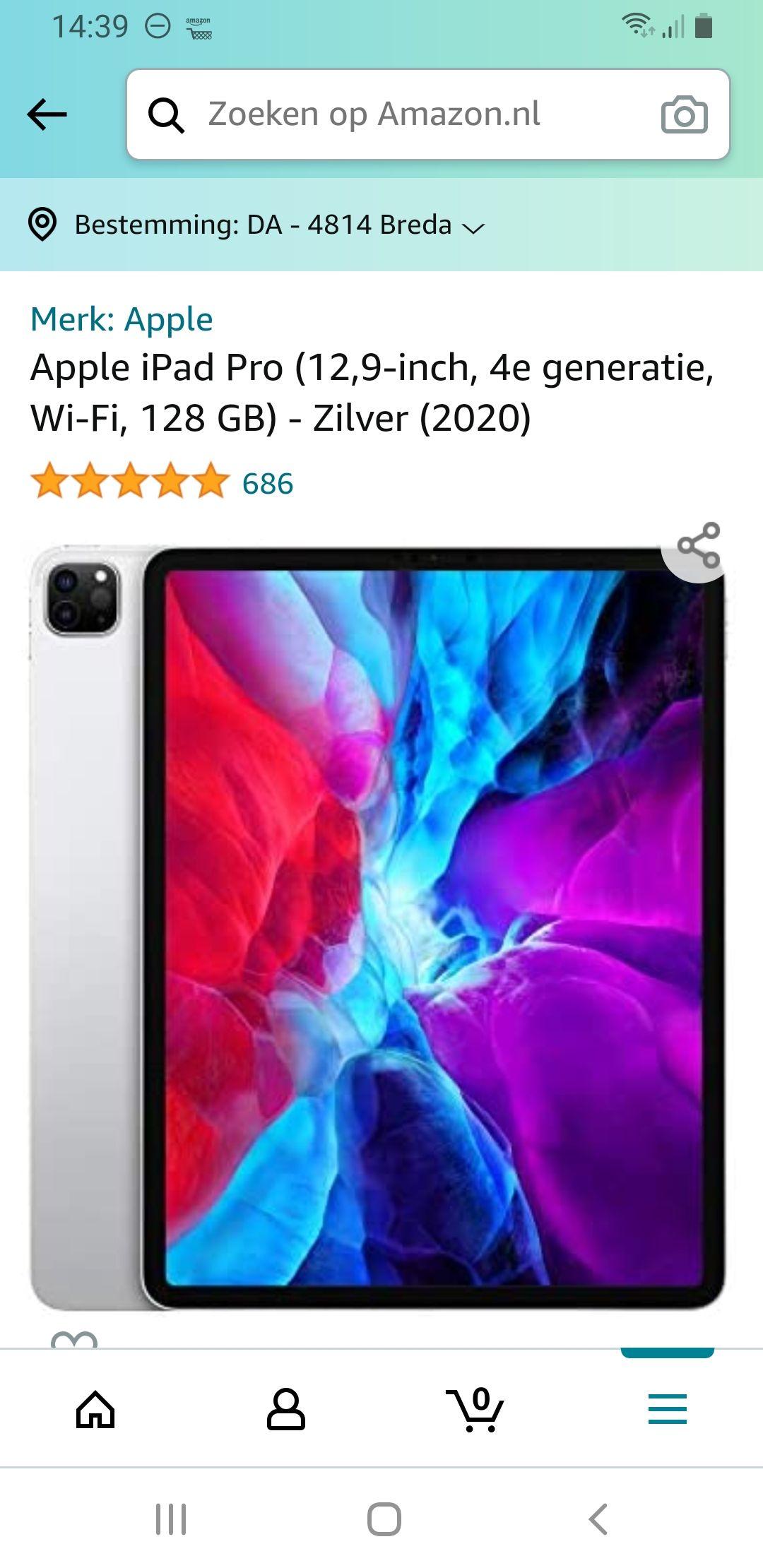 Apple iPad Pro (12,9‑inch, 4e generatie, Wi-Fi, 128GB) - Zilver (2020)