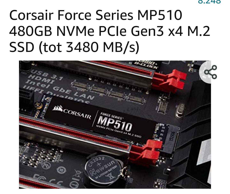 Corsair Force Series MP510 480GB NVMe PCIe Gen3 x4 M.2 SSD