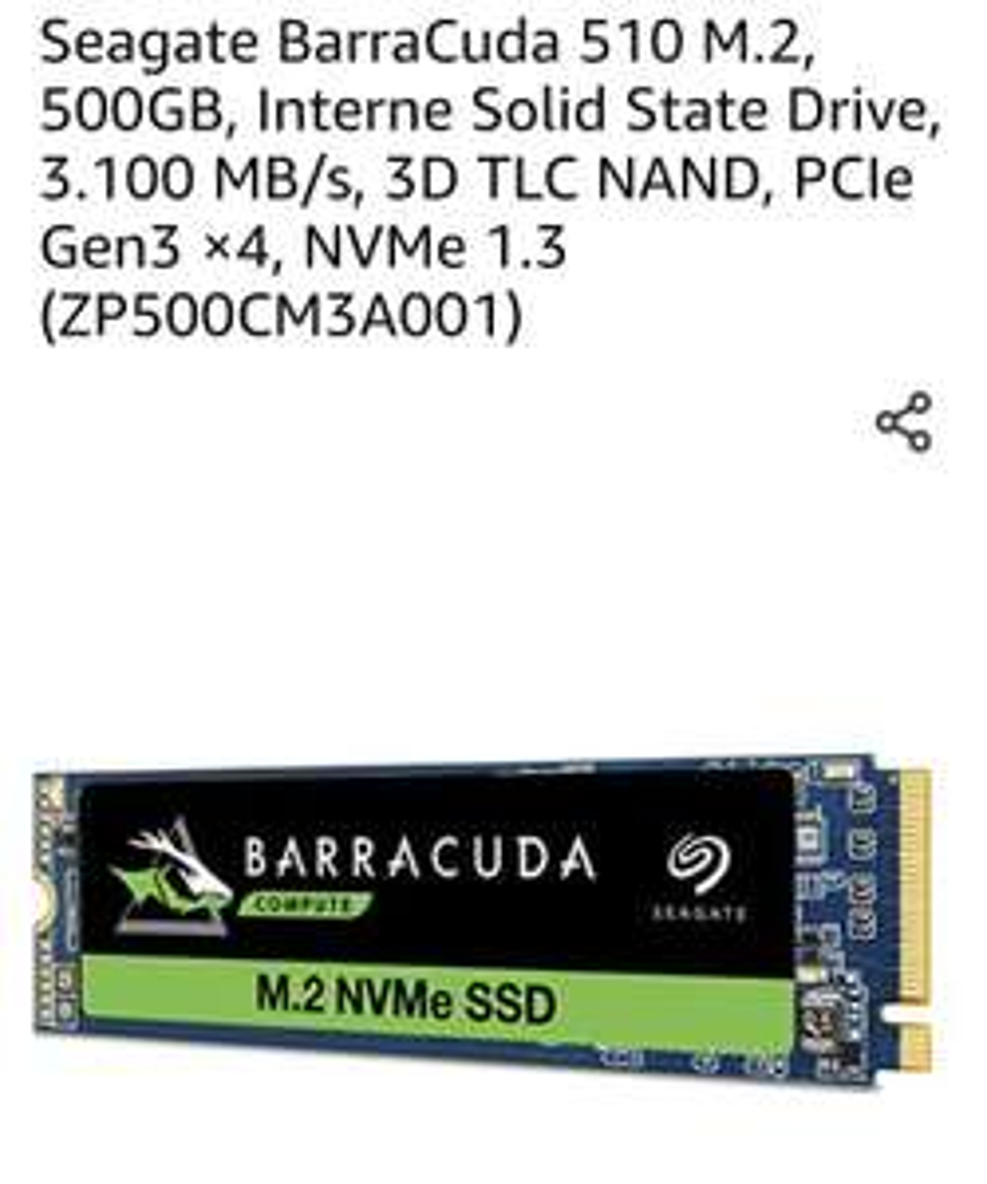 Seagate BarraCuda 510 M.2 NVME SSD, 500GB , 3.100 MB/s, 3D TLC NAND, PCIe Gen3 ×4