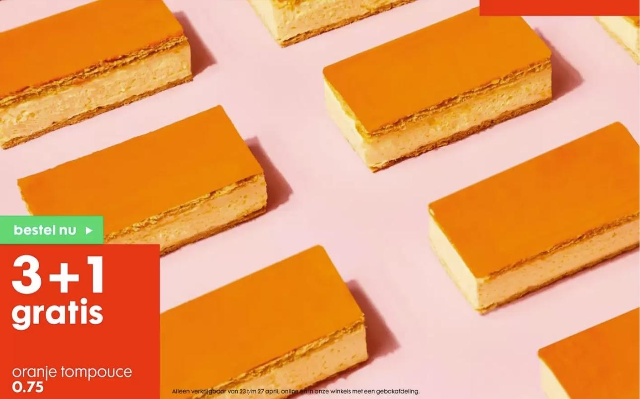 Oranje Tompouce 3+1 gratis bij HEMA