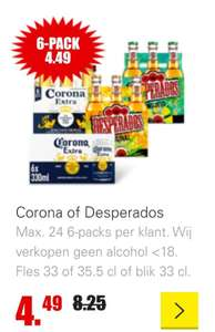 DIRK. Corona of Desperados Max. 24 6-packs per klant.