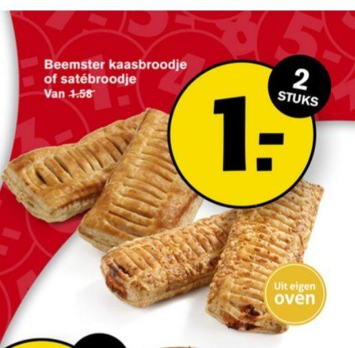Hoogvliet 2 beemster kaasbroodjes of 2 saté broodjes voor 1 euro