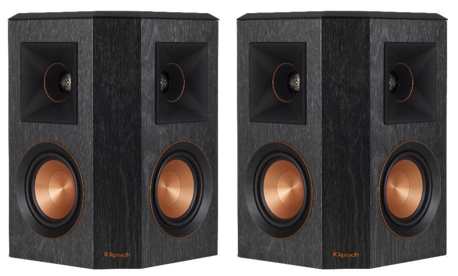 Klipsch: rp-402s surround speakers 2 stuks - zwart of walnoot